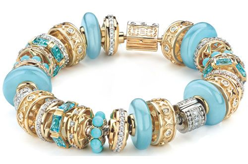 Storywheel Bracelet in Turquoise & Gold Story Beads :)