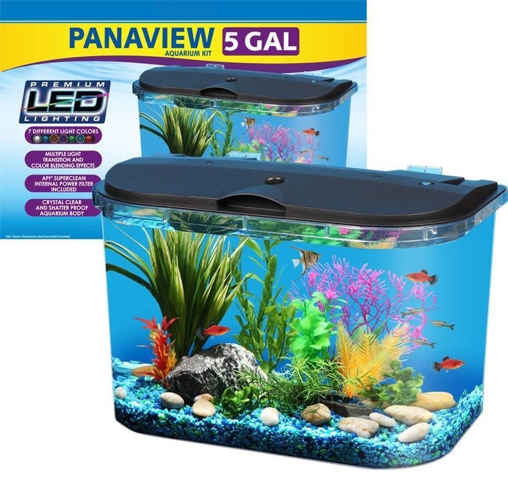5 Gallon Aquarium Kit Tropical Fish Tank Panaview Multicolor Led Lighting Filter Aquarium Kit Tropical Fish Tanks Big Fish Tanks