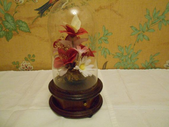Swiss Colony Glass Dome Flowers and Butterfly by SETXTreasures