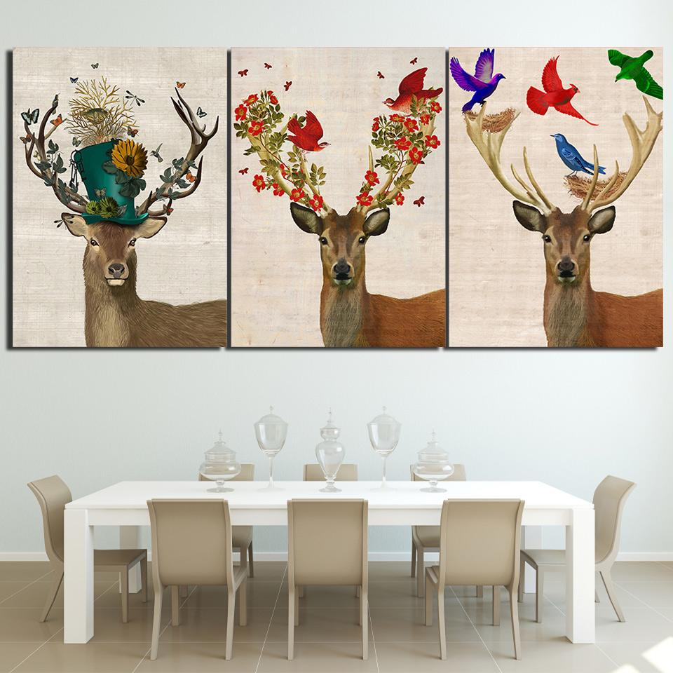 Hd Printed 3 Piece Deer Elk Color Birds Forest Nordic Canvas Wall Art Pictures For Living Room Posters Free Shipping Ny 6757d Wall Painting Living Room Room Posters Wall Art Pictures