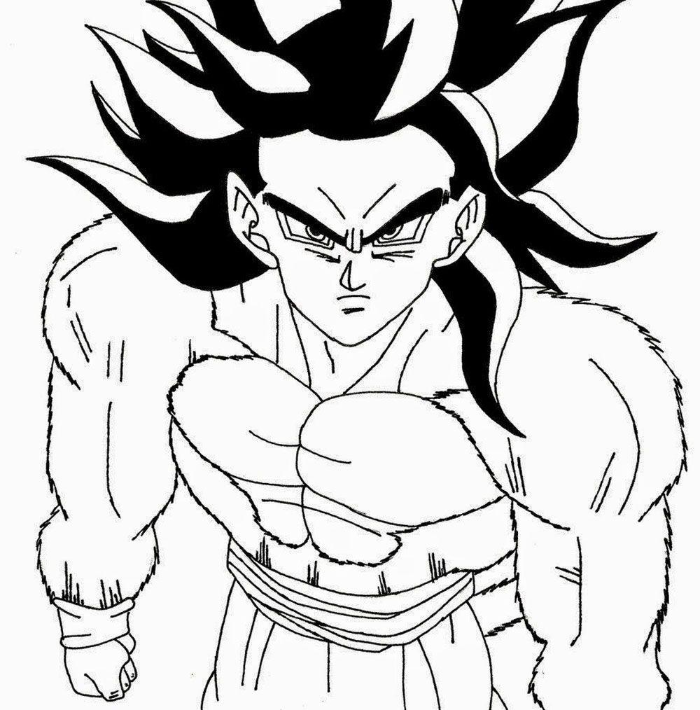 Dibujo de Goku Super Sayan 4 para pintar y colorear | Imagen para ...