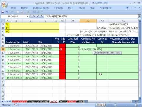 ▷ Excel Facil Truco #74 P2: Formula de Matriz Para Contar Fechas ...