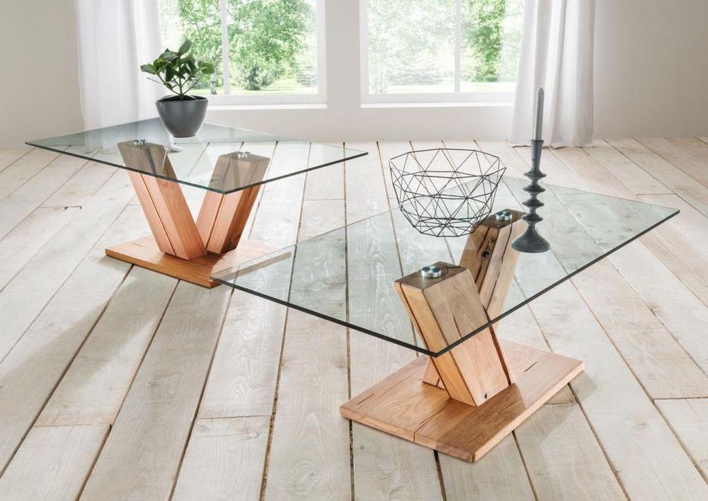 Couchtisch Holz - Glas Wildeiche massiv oder Kernbuche massiv ...