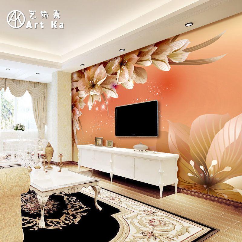 Tr s flores dimensional decora o 3d fundo de papel for Wallpaper sala de estar