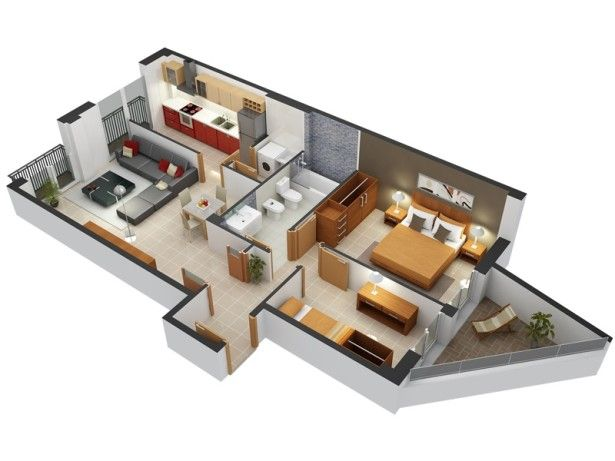 Apartments, 2 Bedroom Apartment Interior Design With Grey Leather Sectional  Sofa And Black Square Coffee