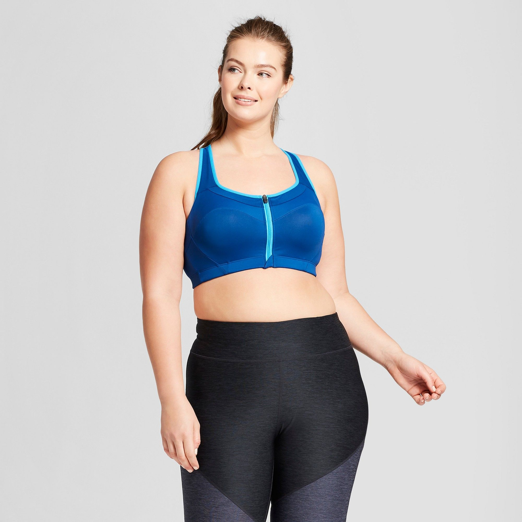 aa0398c2158e4 Women s Plus-Size Power Shape Max Support Front-Close Sports Bra - C9  Champion Winter River Blue   Hydro Blue 40D