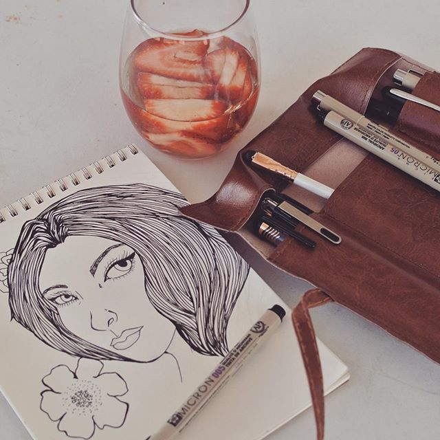 Sipping on some iced tea infused with sliced strawberries while I draw. #life #love #fresh #healthy #pens #sketching #art #drawing #illustration #artist #art