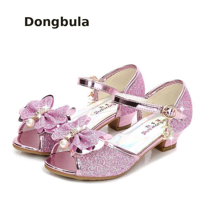 Girls Sandals Shoes Princess Dress Heel Glitter Summer Party Wedding Sandals