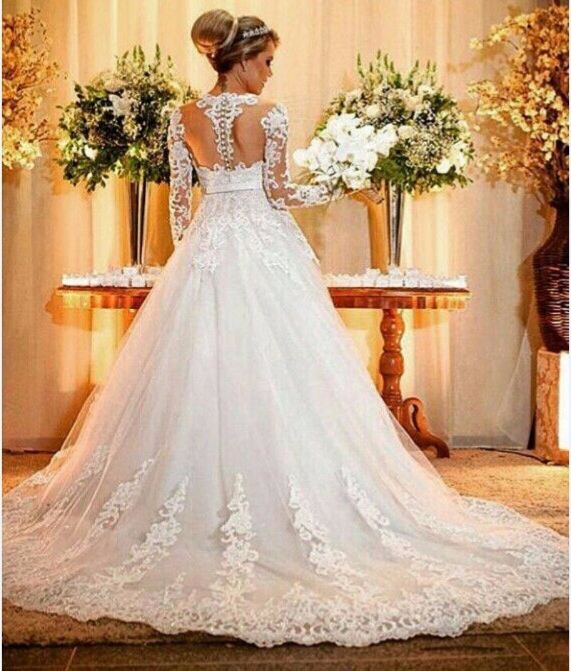 2017 Ball Gowns Long Sleeve Wedding Dresses Lace Tail Bride Bridal