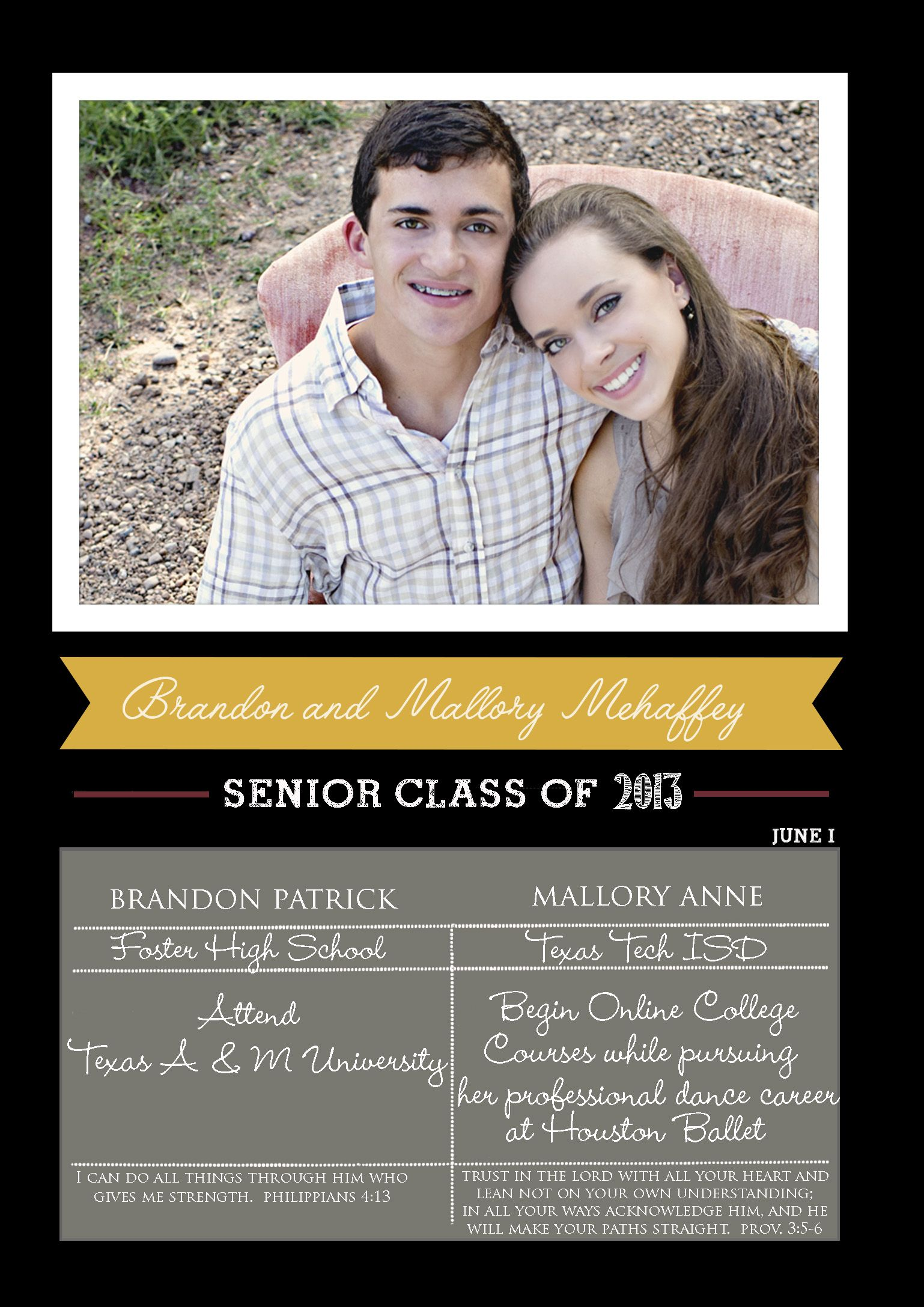 foster hs graduation announcement for twins brandon and mallory