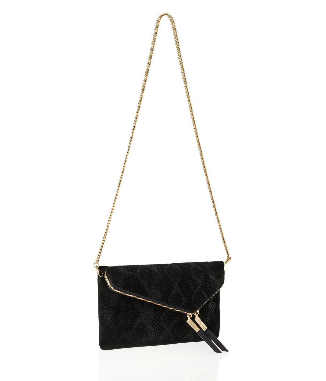 <p>The Debutante Suede Convertible Clutch is a sexy addition to your designer handbag collection. Crafted with supple snake embossed suede, the mod design of this luxury clutch purse features a double zippered fold over compartment for additional storage space, custom Henri Bendel hardware, and a removable shoulder chain for the versatility every Bendel girl loves.</p>