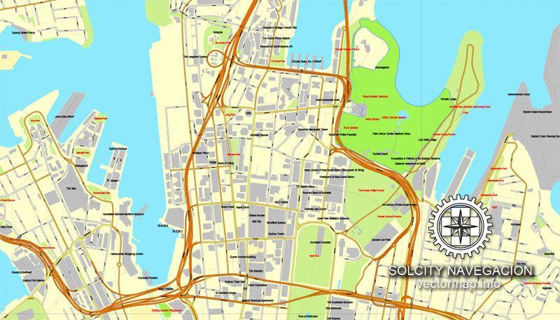 Sydney, Australia in Adobe PDF, printable vector street 4 parts City ...