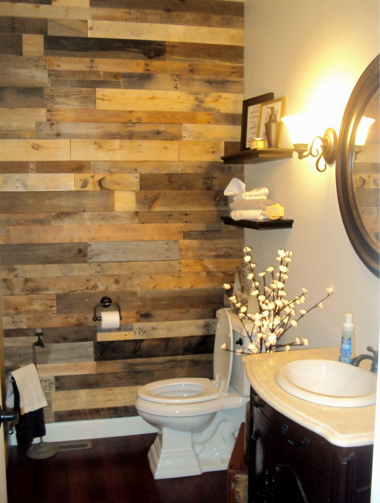 Simple Accent Wall Using Our Pallet Wood Wall Panels For A Bathroom Remodel From A Customer In Nebraska Bathroom Decoration Simple In 2019 Wood Panel Wal