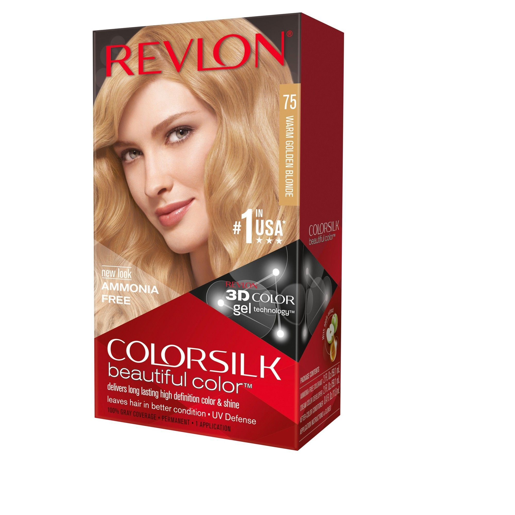 Revlon Colorsilk Beautiful Color 75 Warm Golden Blonde Revlon Hair Dye Hair Dye Color Chart Hair Color Shades