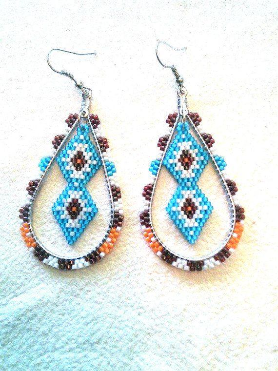 Indigenous Coloured beaded Earrings Aboriginal Coloured Earrings Tear Drop Earrings Native Beaded Earrings