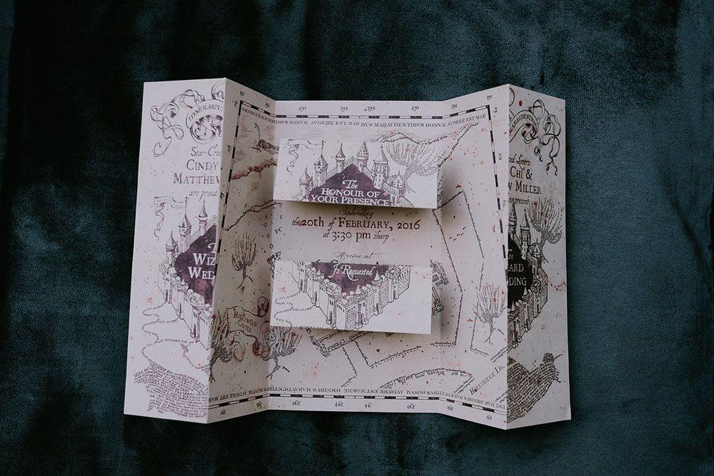 Harry Potter Inspired Wedding Marauders Map Invitaiton