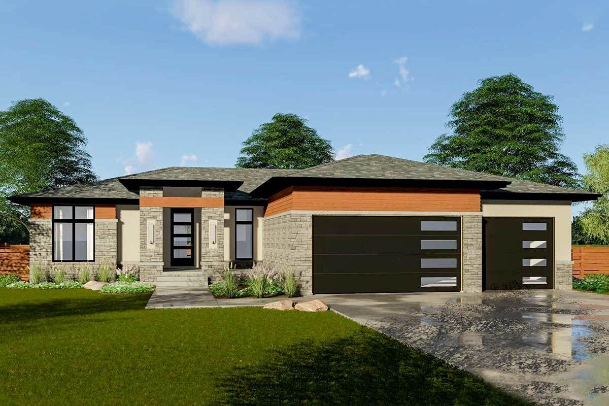 bed modern prairie house plan dj architectural designs plans also houses rh pinterest