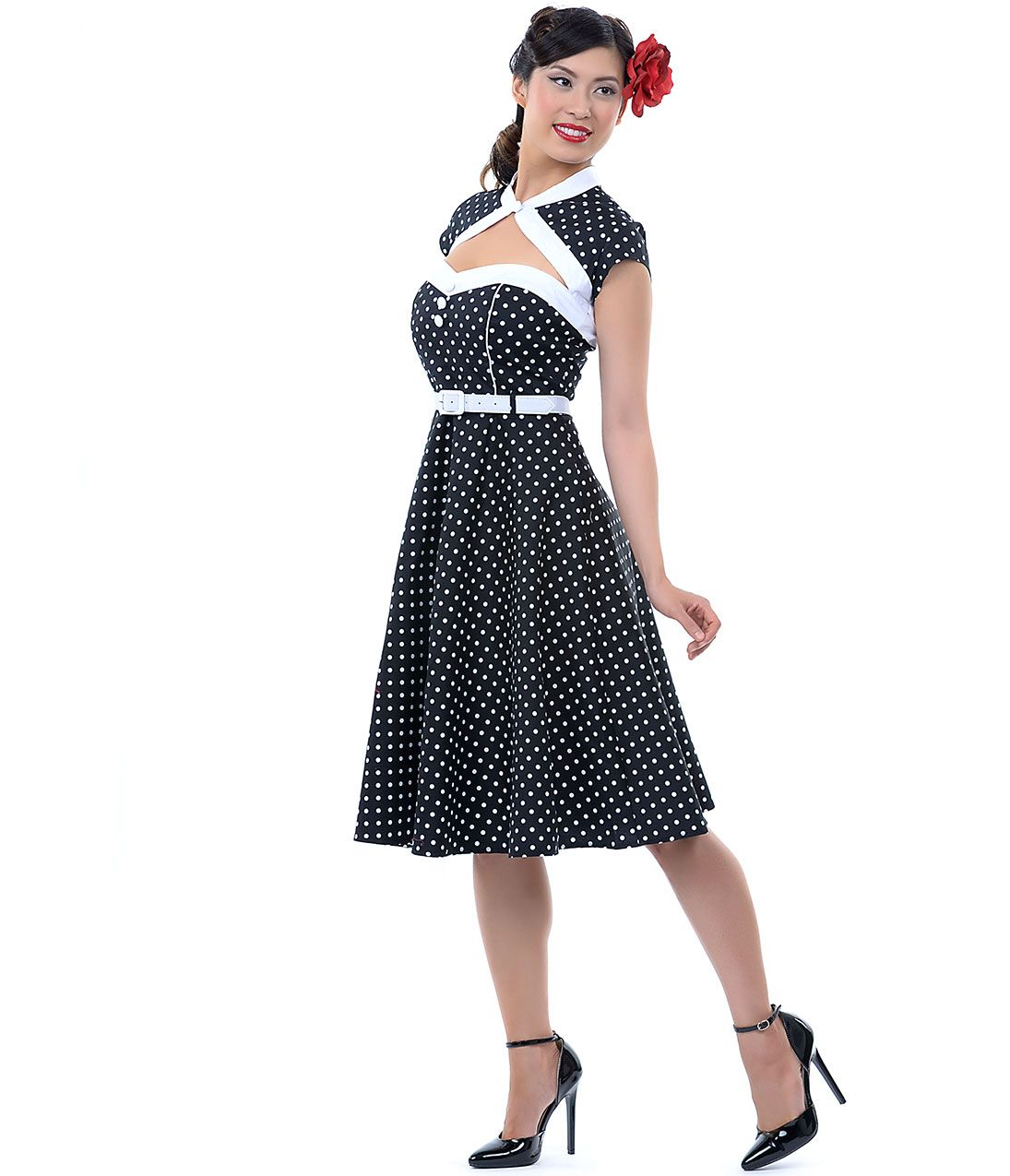 Black u white polka dot cap sleeve melanie dress uniquevintage
