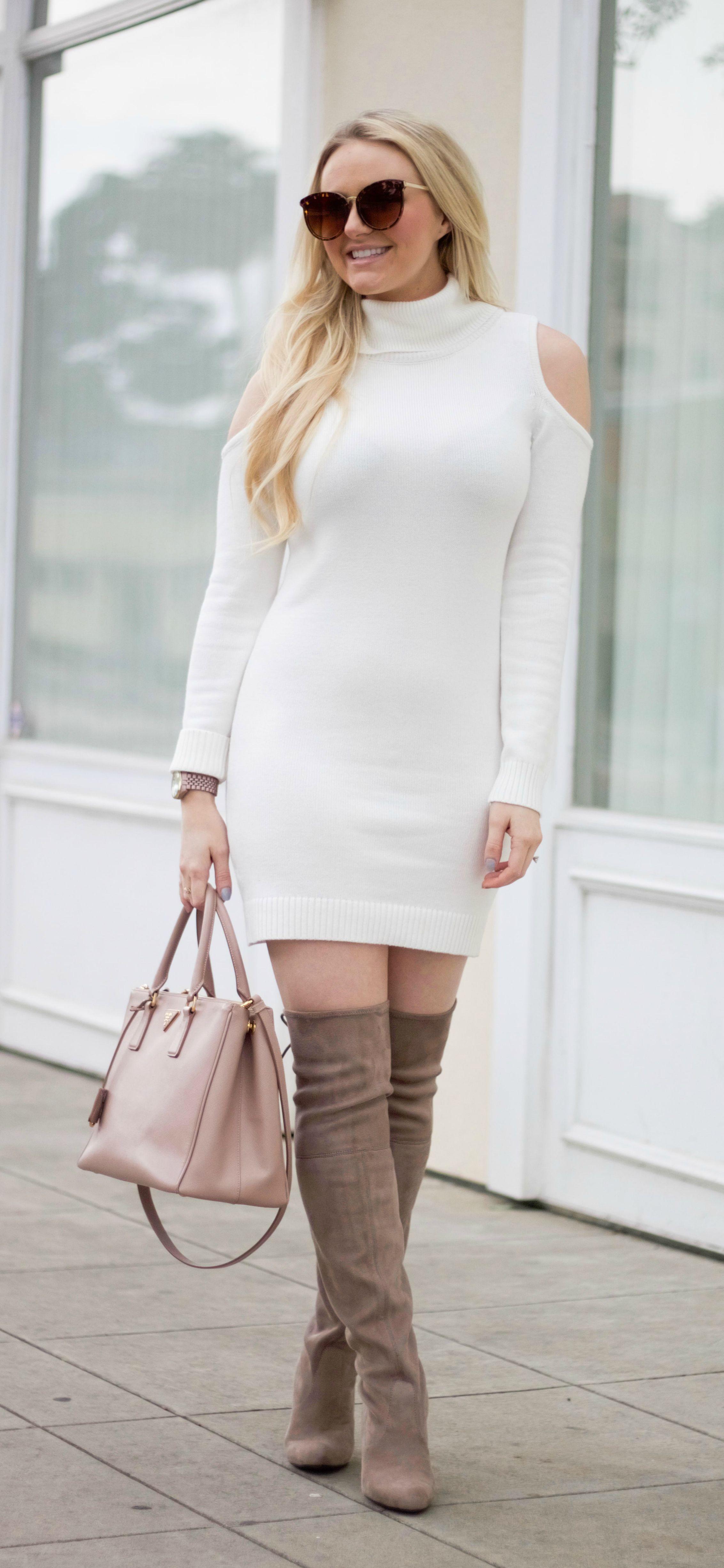 Open Shoulder Turtleneck Dress with Prada Saffiano