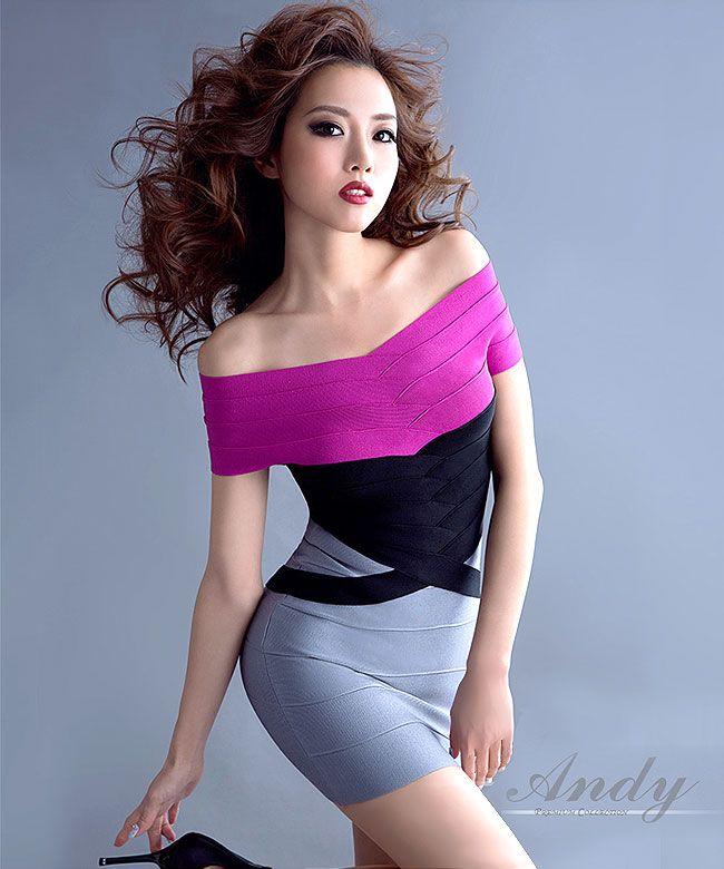 Andy ドレス gms-v101 アンディ グラマラス Andy GLAMOROUS コンプレックス縫製カラー配色タイトSEXYミニワンピース