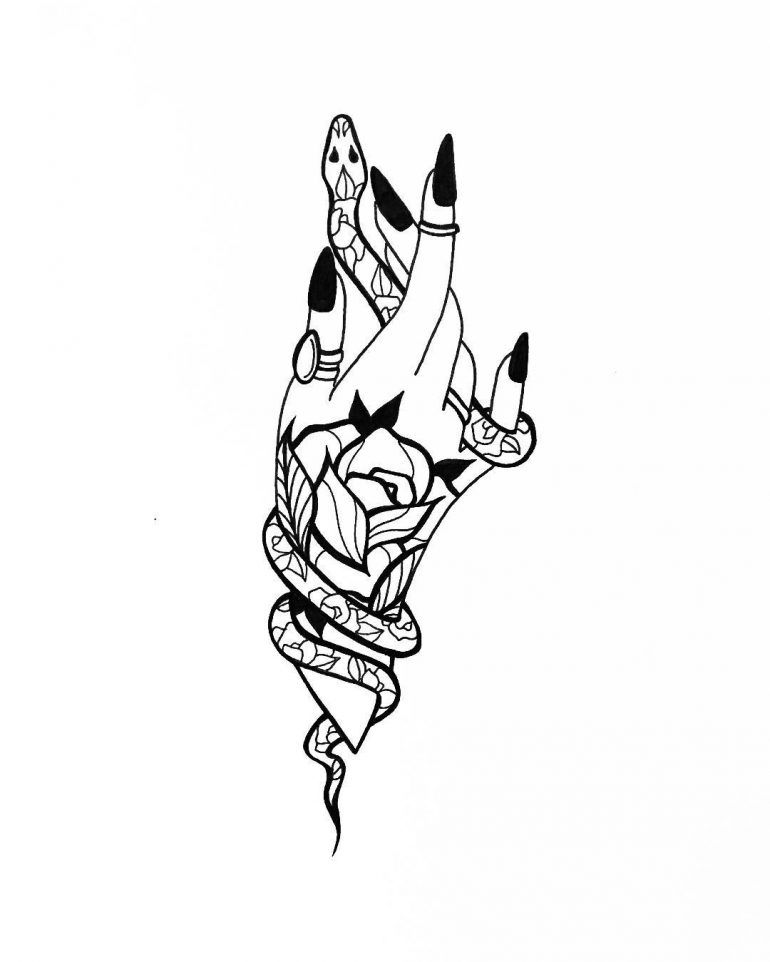 Floral Snake and Witchy Hand #tattoodrawings