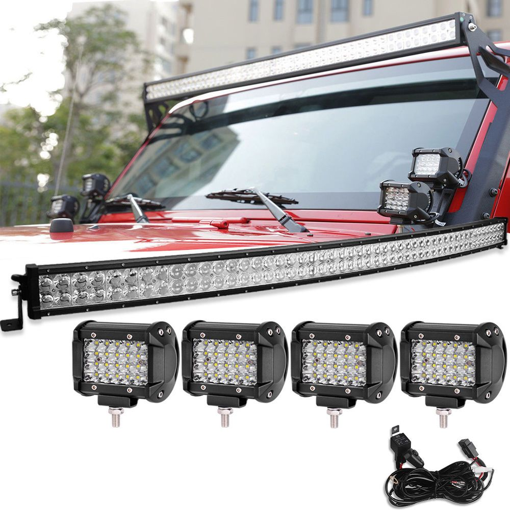 52inch 700w Led Light Bar Curved 144w Quad Row Pods Wiring For Jeep Wrangler 4x4 Yitamotor Jeep Jeep Wrangler Led Light Bars