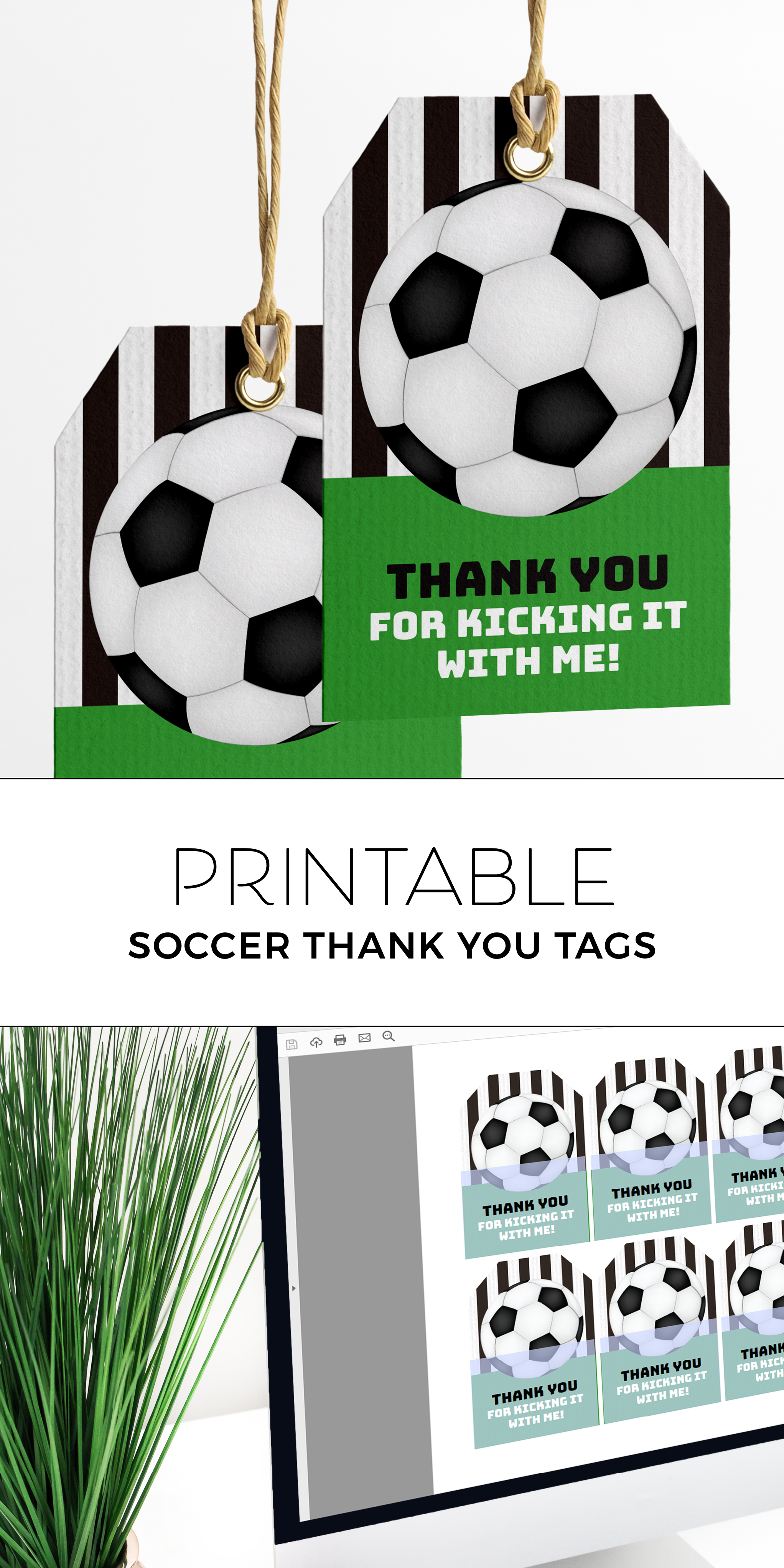Printable Soccer Party Thank You Tags Soccer Birthday Parties Soccer Theme Parties Soccer Party Favors
