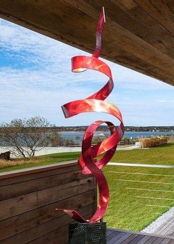 Modern Abstract Garden Art Metal Sculpture Red Perfect Moment by Jon Allen | eBay