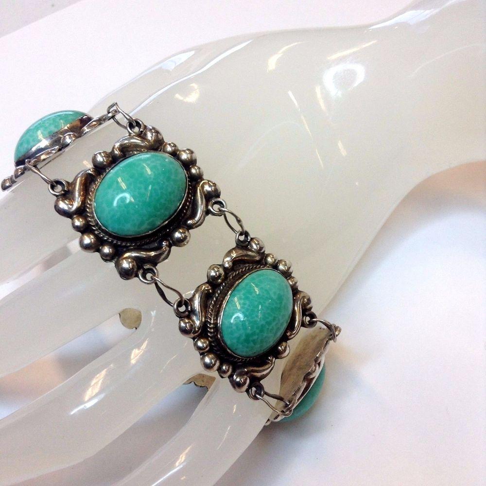 "Vintage Handmade Mexico Sterling Silver Bracelet / Light Green Stones. 6.5 ""   #Handmade"
