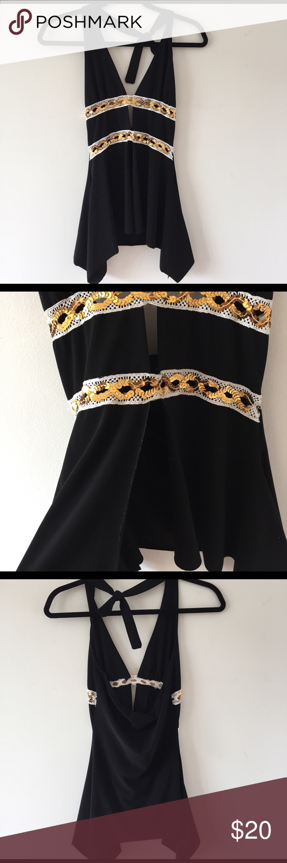 Dressy Halter Top Black halter top with gold sequins. There is slit in the front. Size medium. Made with 96% polyester. Bundle for a discount. Tops