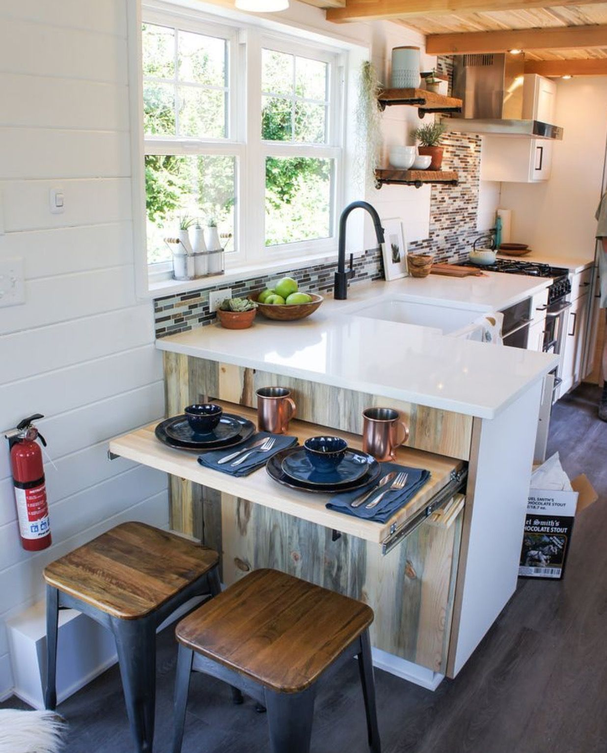 pull out table/workspace | tiny house kitchen, kitchen