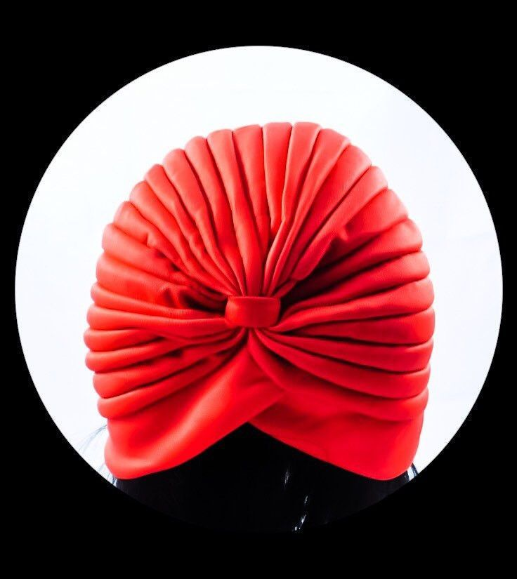 Adult Classic Retro Womens Turbans | Full Turbans | Red Stretchy Turbans | Stretch Turban | Fashion Turbans | Head Scarf | Red Head Wrap