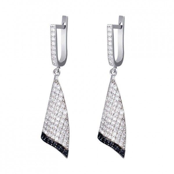 da40273a4845 Pendientes de plata rodiada en blanco con micropavé de circonitas blancas y  negras