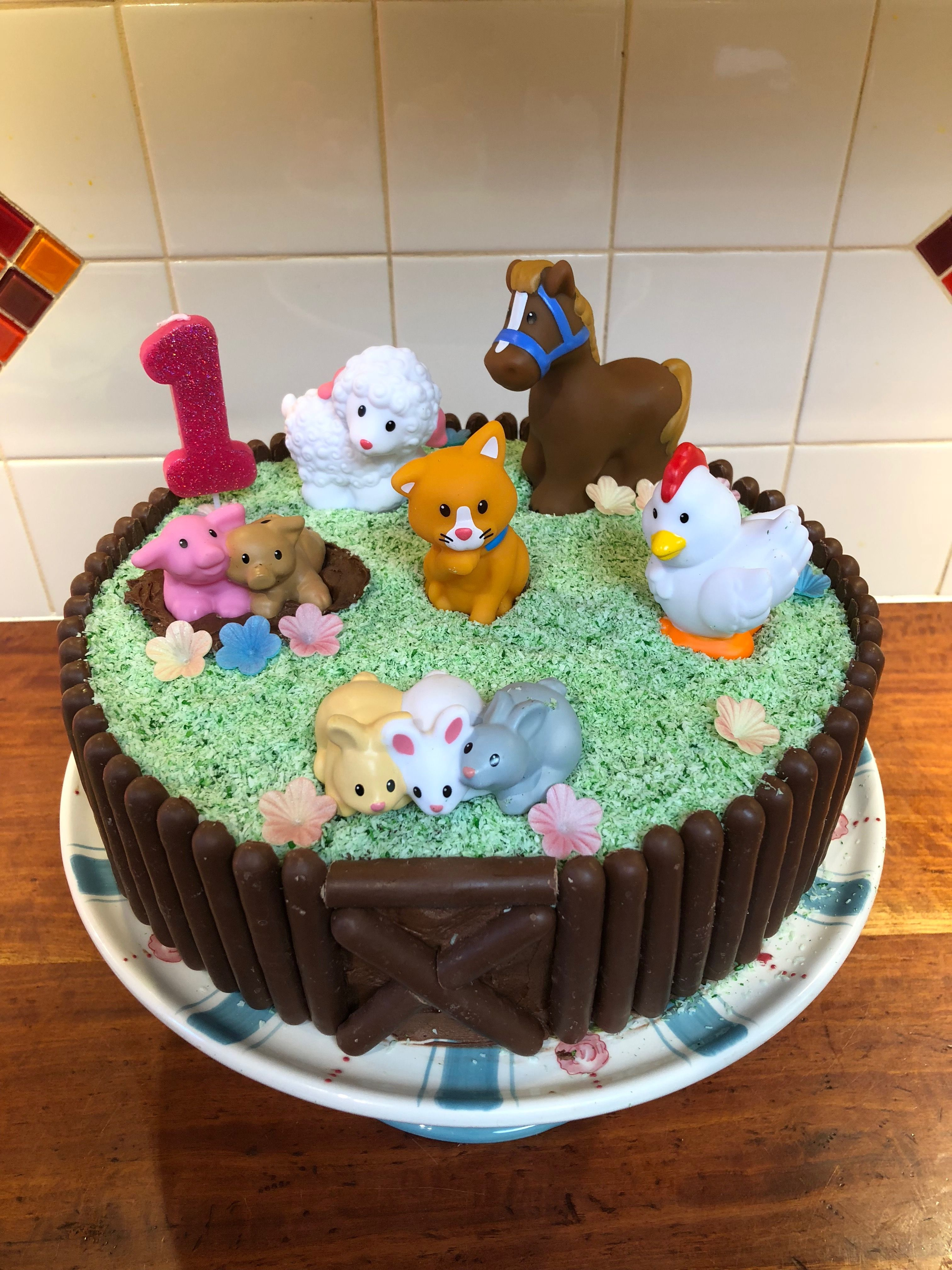Pippa S 1st Birthday Easy Farm Cake With Fisher Price Little