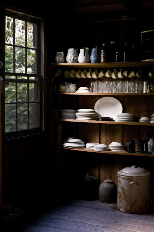 pottery in a modern rustic pantry
