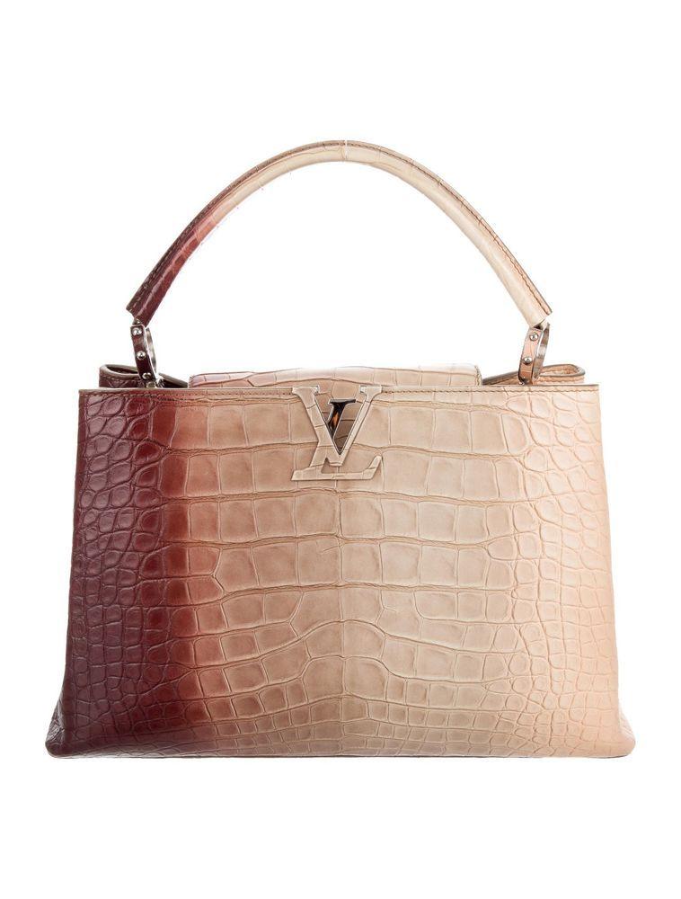 Louis Vuitton Handbag Crocodile Brilliant Capucines Mm 100 Authentic Brown Tan Ebay