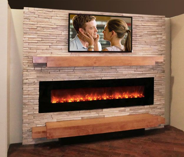 media wall designs Modern Stone Fireplace Media Wall Stone