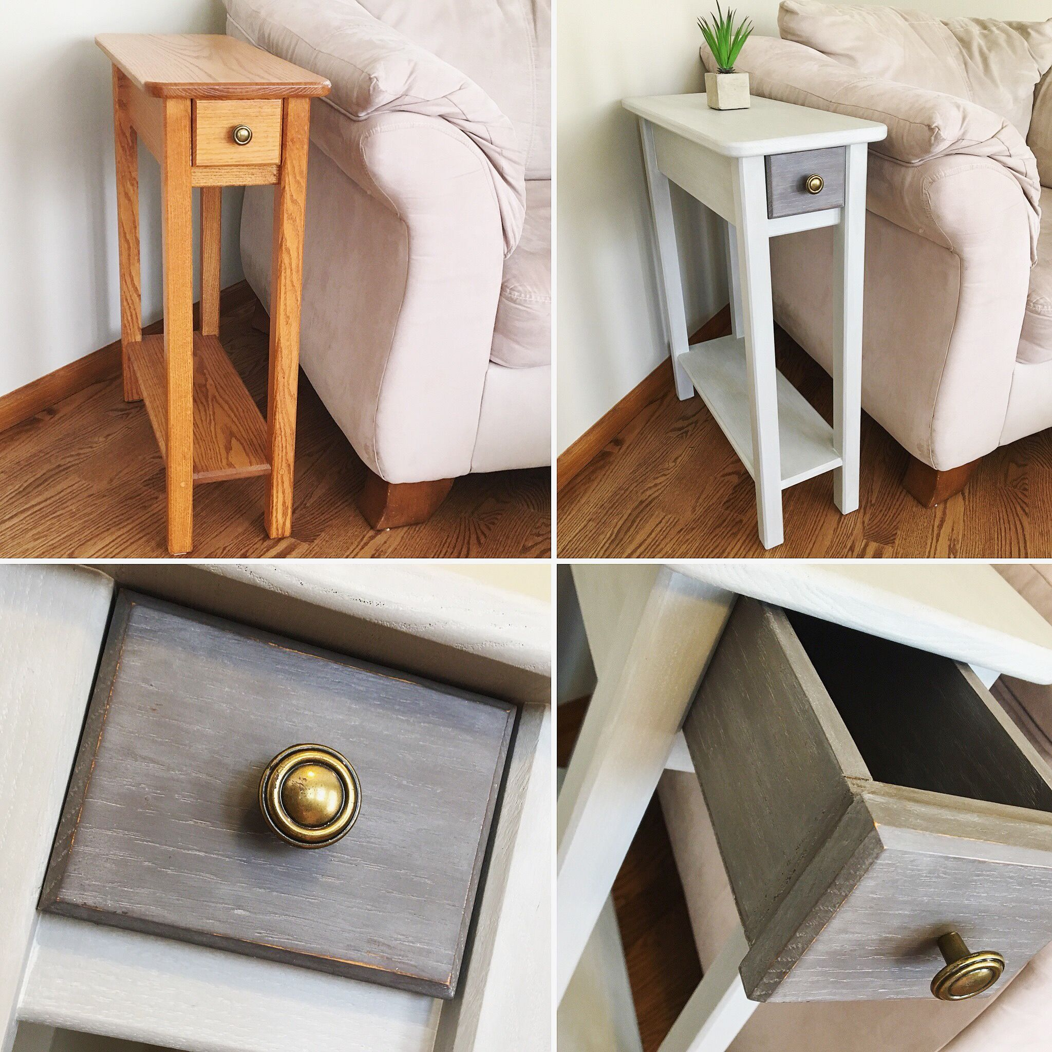 Oak Skinny End Table Gets A Makeover Just Some Chalk