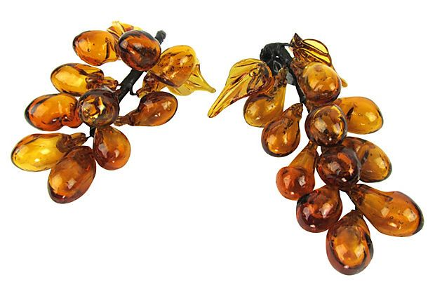Amber Art Glass Grapes, Pair by Ruby + George on @One Kings Lane
