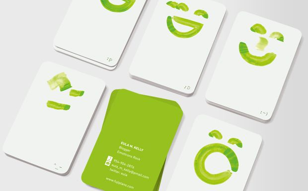 Emoticons Green Business Cards From Moo Business Card Inspiration Green Business Business Cards