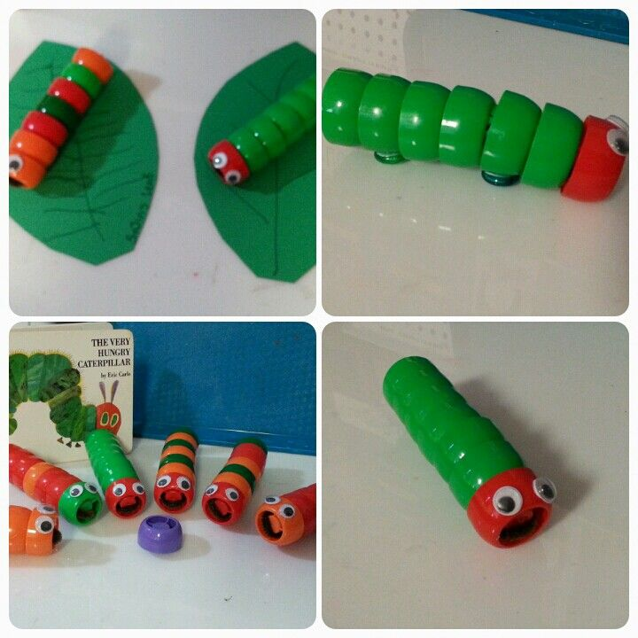 Very Hungry Caterpillars....made with baby food pouch lids.