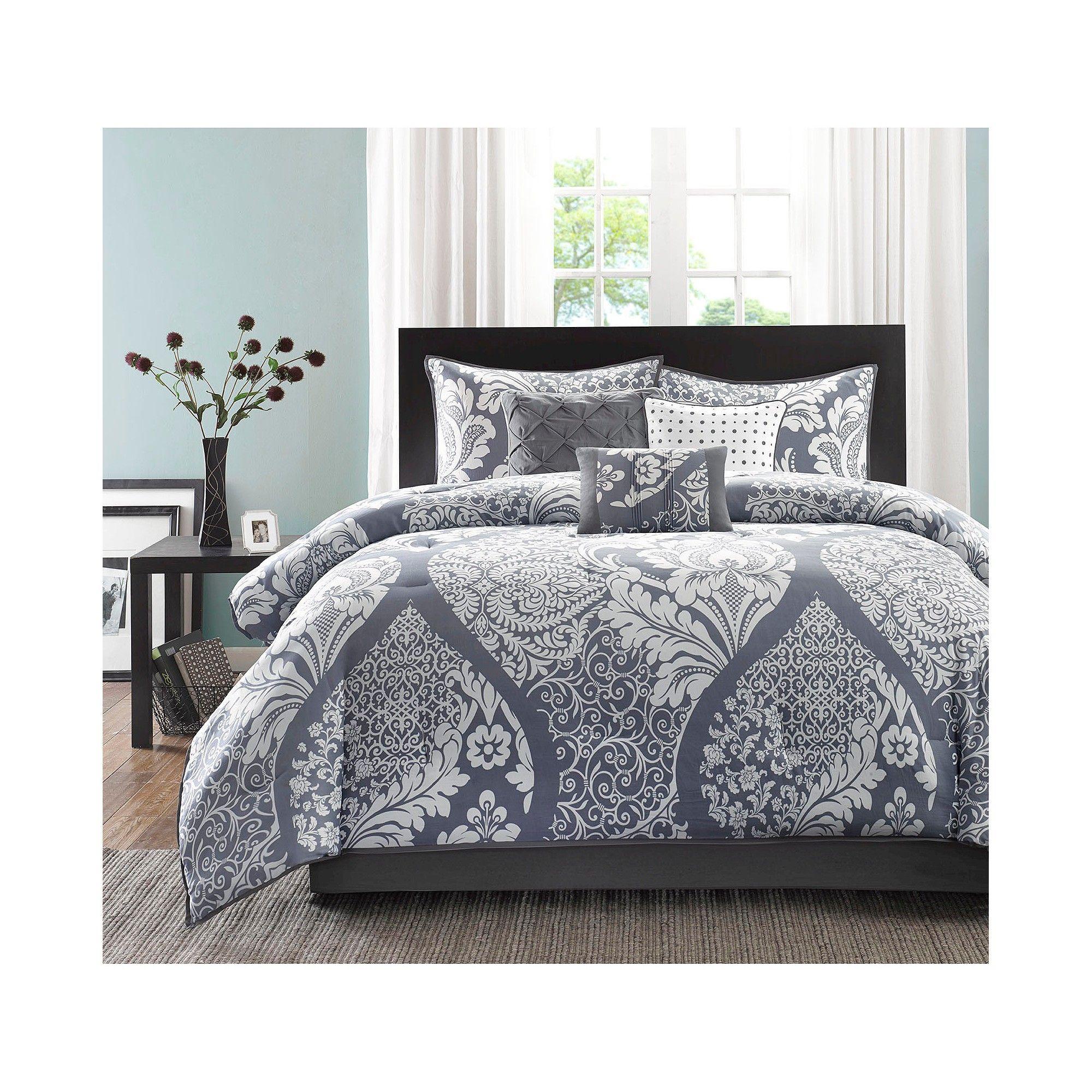 Adela 7 Piece Printed Comforter Set Slate (California