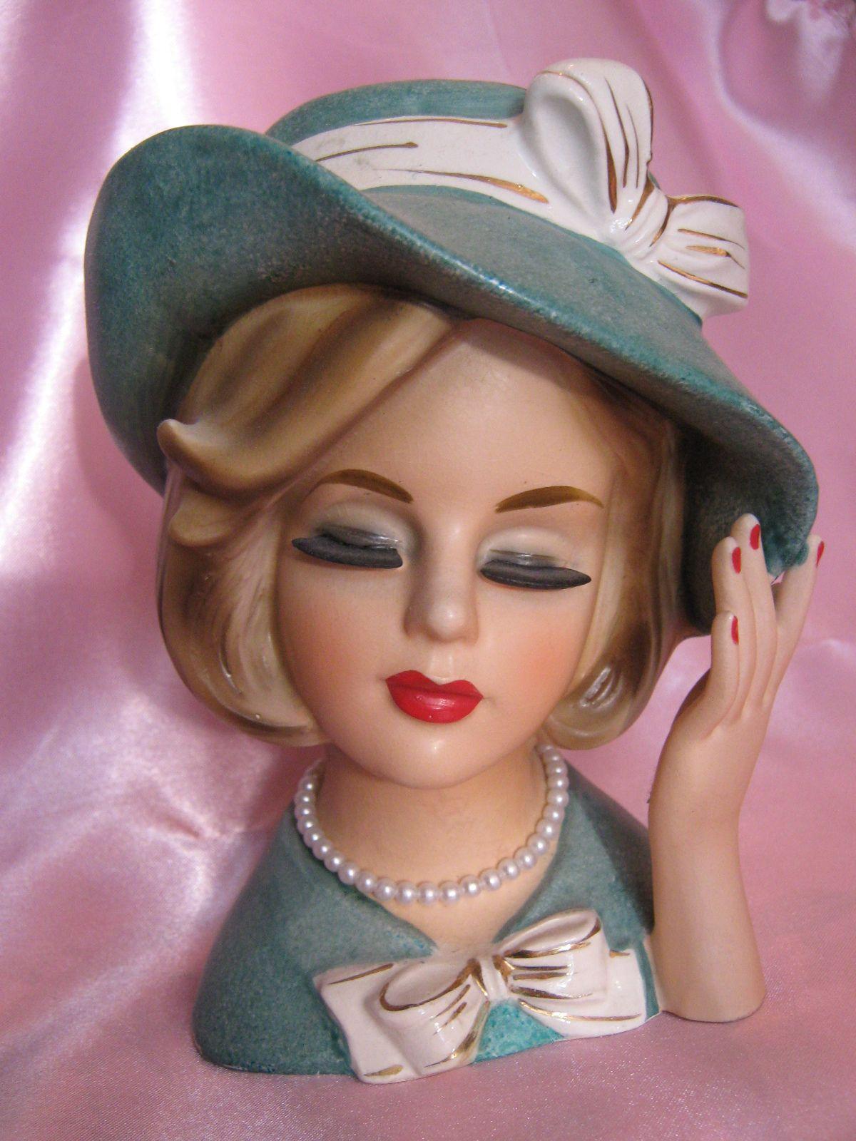 Vintage Ardco Lady In Upturned Turquoise Hat Head Vase Headvase Hard To Find Head Vases