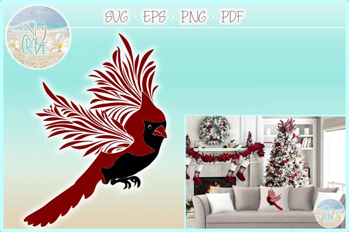 Cardinal Flying Mandala Zentangle SVG PDF EPS PNG files