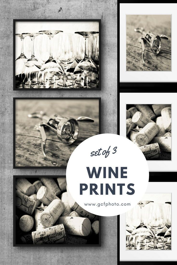 print set of wine pictures for kitchen wall art sepia photography