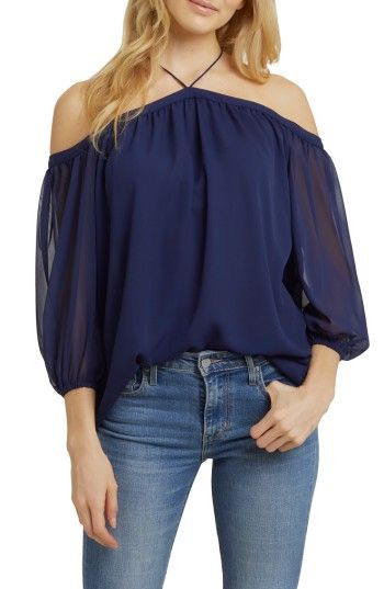 4fc1d75f5e26d6 Free shipping and returns on 1.STATE Off the Shoulder Sheer Chiffon Blouse  at Nordstrom.com. Exposed shoulders and slender straps accentuate the  ladylike ...