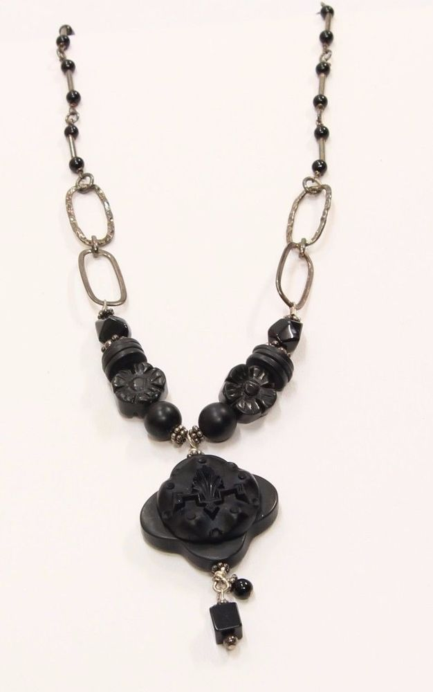 "$24.99 Sterling Silver .925 Artisan Carved Black Stone Onyx 20"" Necklace Pendant 30160 #Unbranded #DropDangle"