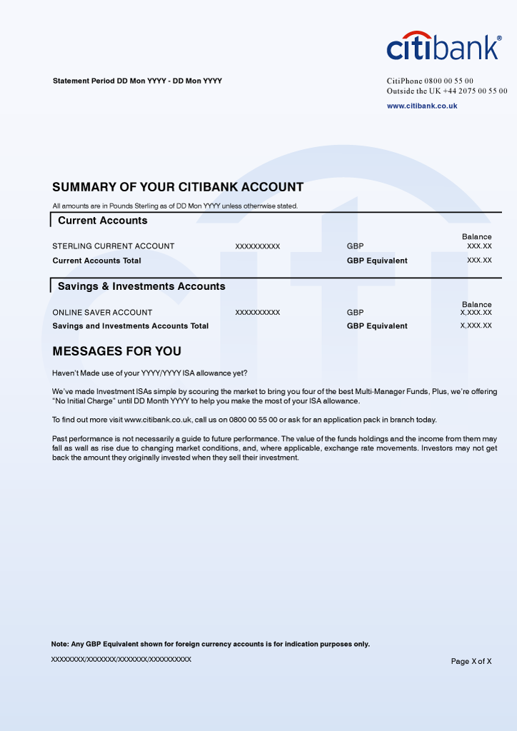 Citibank Bank Statement Psd Template Bank Statement Credit Card Statement Business Card Template Word