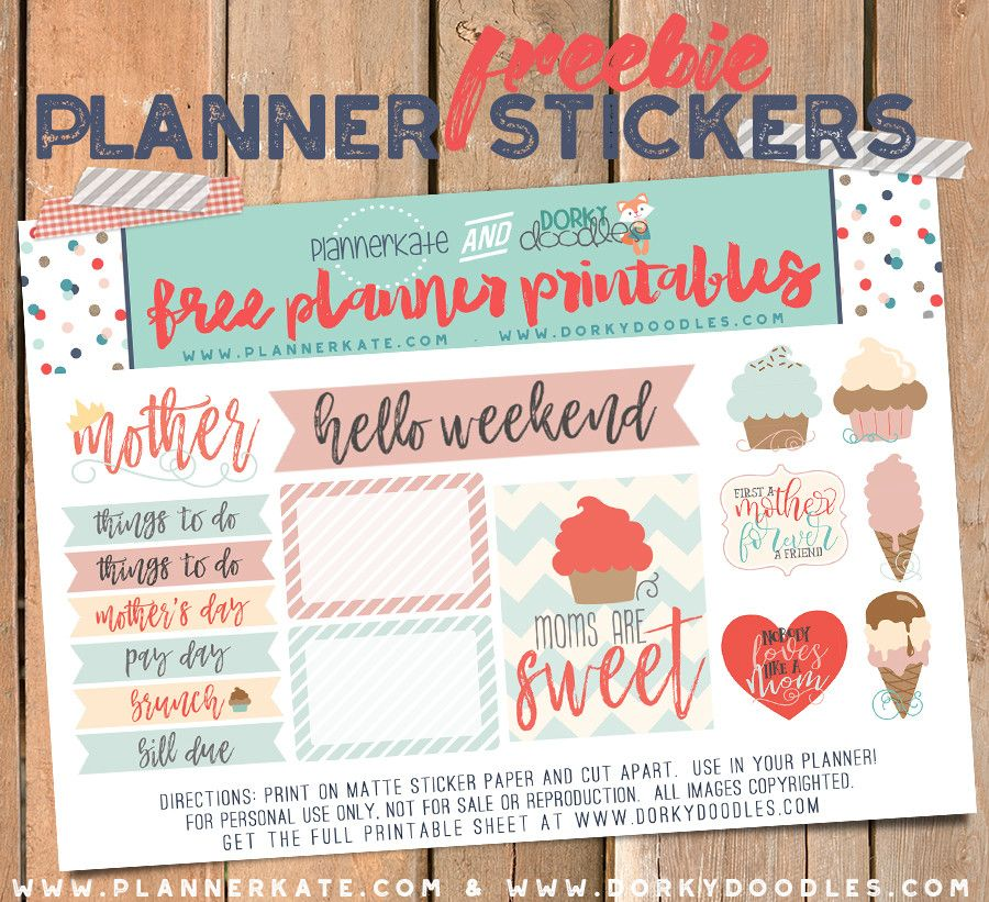 free printable mothers day planner stickers from planner kate and dorky doodles planner. Black Bedroom Furniture Sets. Home Design Ideas