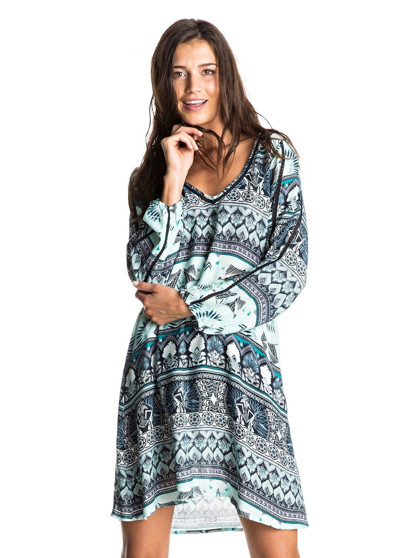 roxy, Havana Long Sleeve Dress, DRESS BLUE HIPPIE HOP BORDER (btk6 ...
